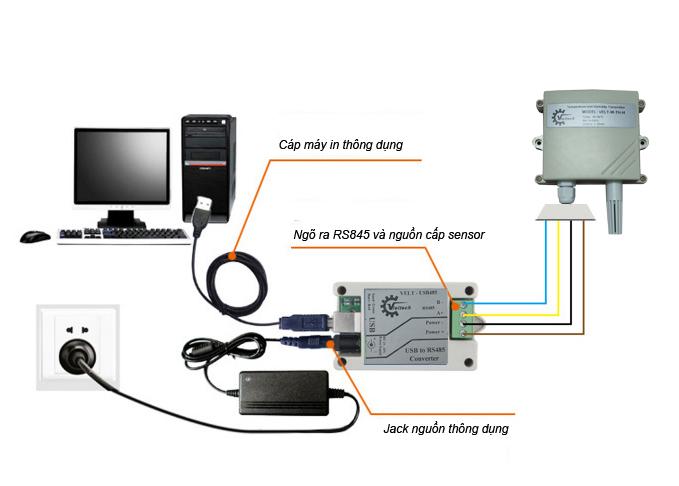 Cáp USB sang RS485, cáp chuyển đổi RS485.